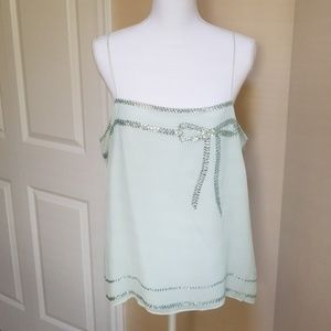 Mint green spaghetti strap top with sequins